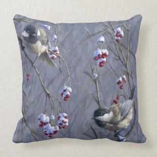 Chickadees & Redpoll Reversible Accent Pillow