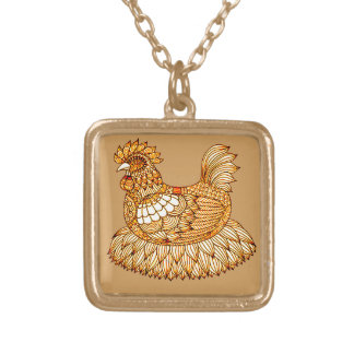 Chicken 2 gold plated necklace