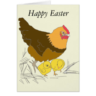 Chicken and Chicks Easter Card
