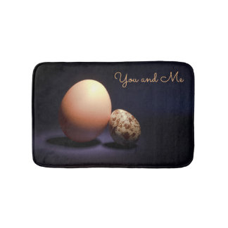 Chicken and quail eggs in love. Text «You and Me». Bath Mat