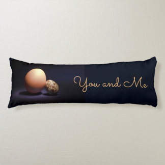 Chicken and quail eggs in love. Text «You and Me». Body Pillow