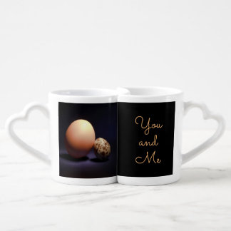 Chicken and quail eggs in love. Text «You and Me». Coffee Mug Set