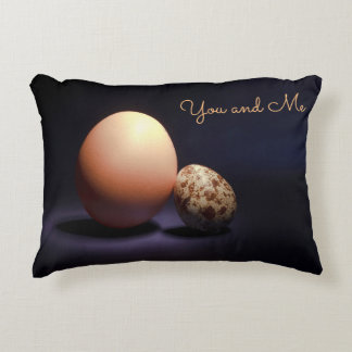 Chicken and quail eggs in love. Text «You and Me». Decorative Pillow