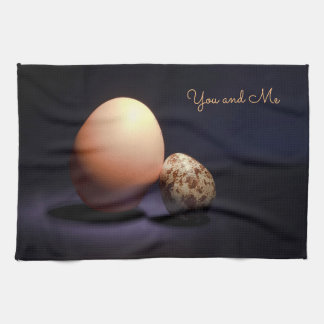 Chicken and quail eggs in love. Text «You and Me». Kitchen Towel