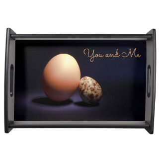 Chicken and quail eggs in love. Text «You and Me». Serving Tray