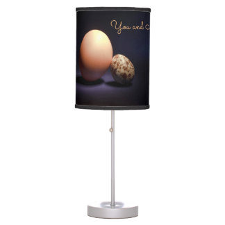 Chicken and quail eggs in love. Text «You and Me». Table Lamp