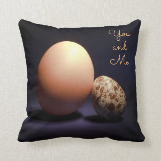 Chicken and quail eggs in love. Text «You and Me». Throw Pillow