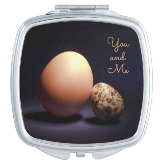 Chicken and quail eggs in love. Text «You and Me». Travel Mirrors