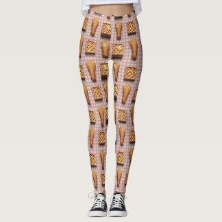 Chicken and Waffles Pattern Leggings