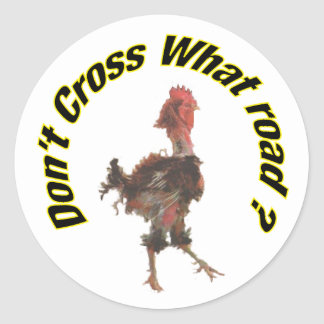 Chicken cross the road classic round sticker