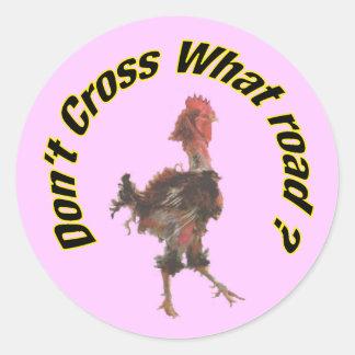 Chicken cross the road round sticker
