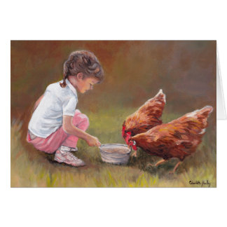 Chicken Dinner Animal Art Note Card