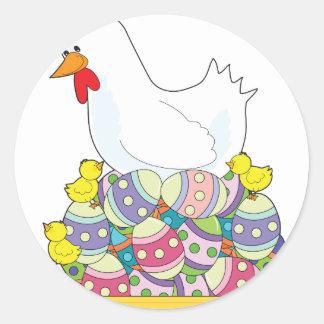 Chicken Easter Eggs Classic Round Sticker