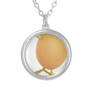 Chicken egg as bird with beak and legs silver plated necklace
