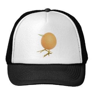 Chicken egg as bird with beak and legs trucker hat