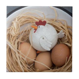 Chicken & eggs ceramic tile