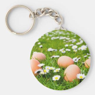 Chicken eggs in grass with daisies basic round button keychain