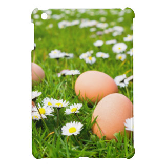 Chicken eggs in grass with daisies iPad mini case