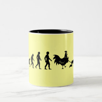 Chicken evolution Two-Tone coffee mug
