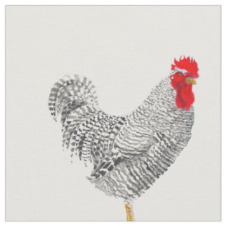 chicken fabric, barred rock rooster fabric
