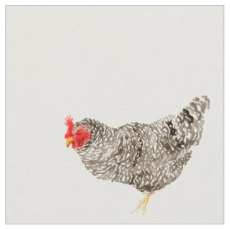 chicken fabric,hen material, barred rock with dots fabric