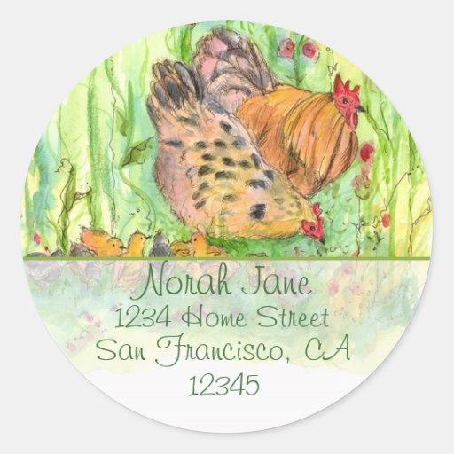 Chicken Family Address Sticker Watercolor Bird Art