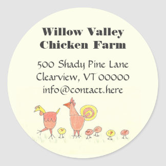 Chicken Family Farming Artwork Design Round Sticker