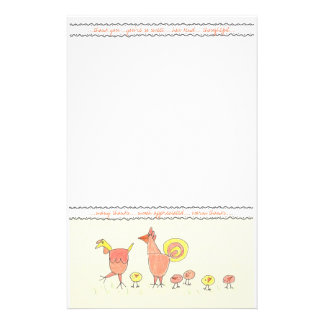 Chicken Family Thank You Note Paper