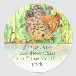 Chicken Family Watercolor Birds Return Address Round Sticker