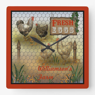 Chicken Farm Yard Fresh Eggs Vintage Square Wall Clock