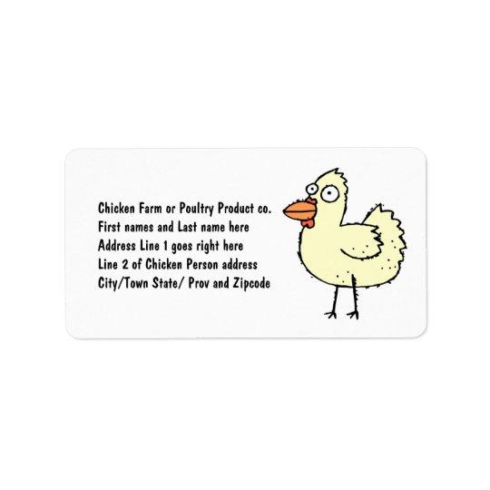 Chicken Farmer Cartoon Hen Label