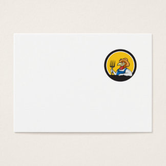 Chicken Farmer Pitchfork Circle Cartoon Business Card