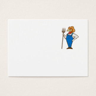 Chicken Farmer Pitchfork Isolated Cartoon Business Card