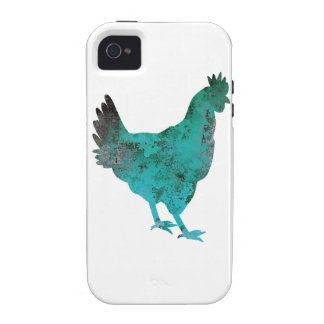 Chicken Hen Teal Blue on White Background Vibe iPhone 4 Cover
