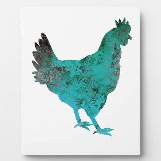 Chicken Hen Teal Blue on White Background Plaque