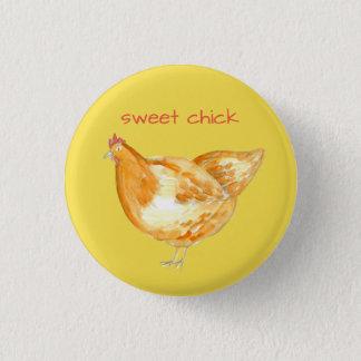 Chicken Hen Yellow Sweet Chick 1 Inch Round Button
