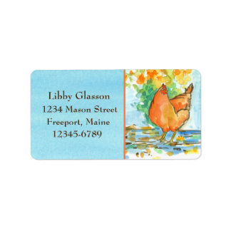 Chicken Hens Fall Leaves Blue Watercolor Label