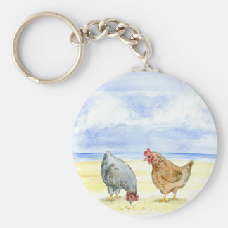 CHICKEN KEYCHAIN, LOVELY FARM HENS EATING KEYCHAIN