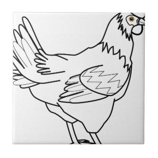chicken line art ceramic tile