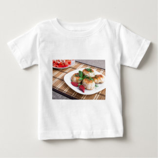 Chicken meatballs of minced meat and a salad baby T-Shirt
