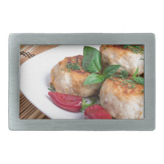Chicken meatballs of minced meat and a salad belt buckles