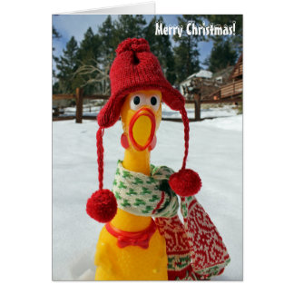 Chicken Merry Christmas Greeting Card! Card