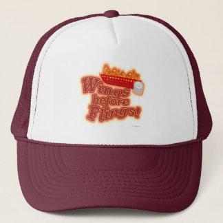 Chicken Motto Wings before Flings Trucker Hat