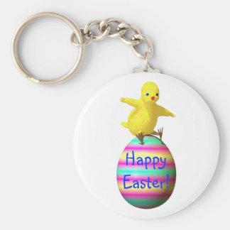 Chicken on Easter Egg Basic Round Button Keychain