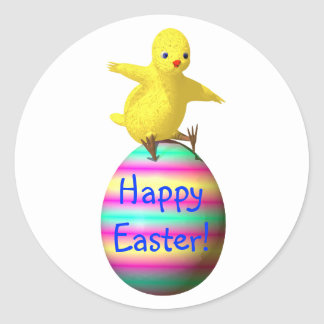 Chicken on Easter Egg Round Sticker