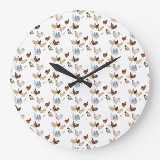 Chicken on white large clock
