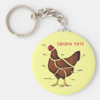 Chicken Parts Basic Round Button Keychain