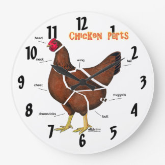 Chicken Parts Large Clock