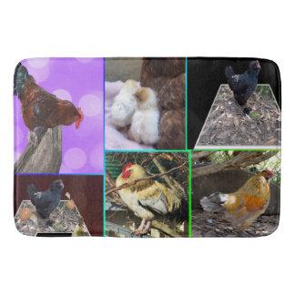 Chicken Photo Collage, Lge Memory Foam Bath Mat. Bathroom Mat