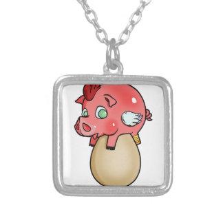 Chicken, Pig, Cheeken-Peeg! Silver Plated Necklace